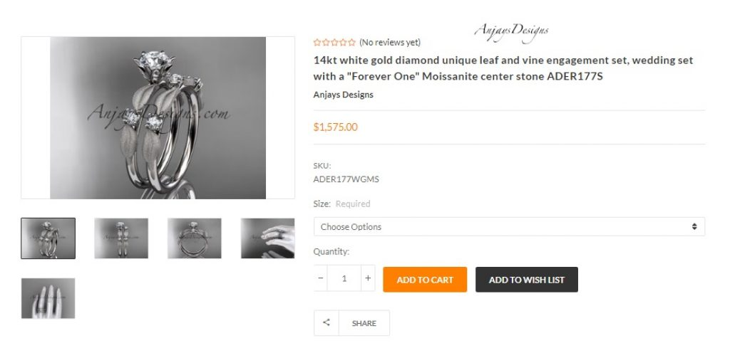 leaf and vine - nature inspired moissanite engagement ring and bridal set by Anjays Designs